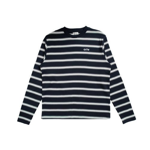 Lino Stripes Longsleeve Navy White AW20 016LS