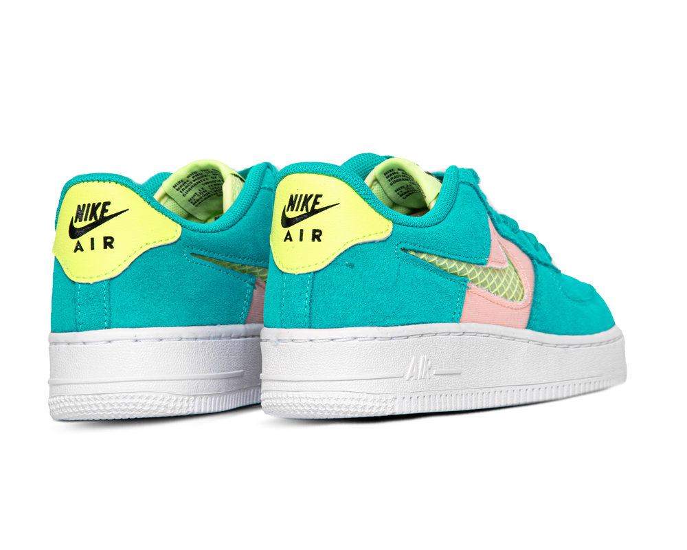 Nike Air Force 1 GS LV8 Oracle Aqua Ghost Green Washed Coral CJ4093 300