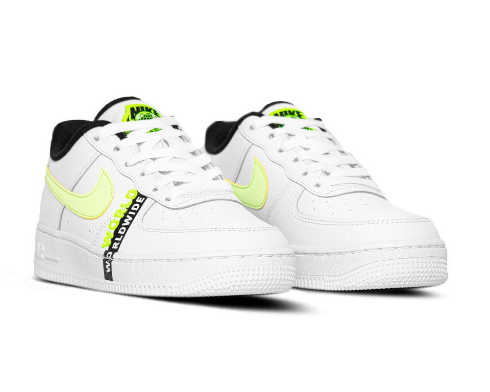 Nike Air Force 1 GS LV8 1 White Barely Volt Black CN8536 100