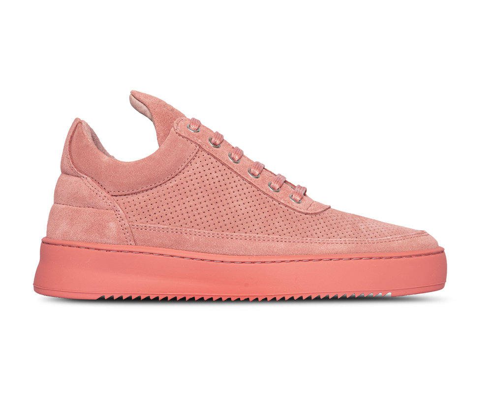 Filling Pieces Low Top Ripple Suede Perforated Pink 2512704 1898