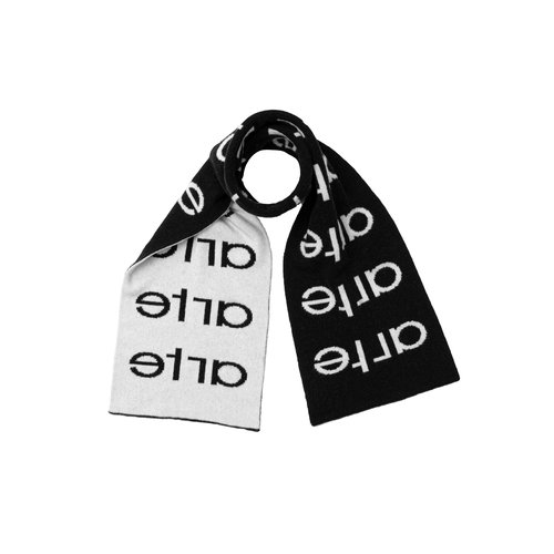 Multi logo Scarf Black White AW20 072SC