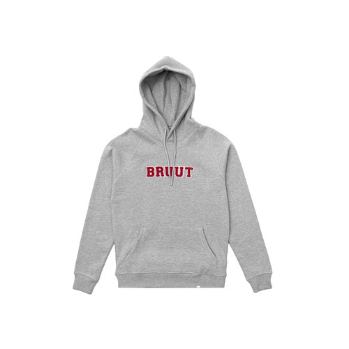 Varsity Teddy Logo Hoodie Grey University Red BT1030 003