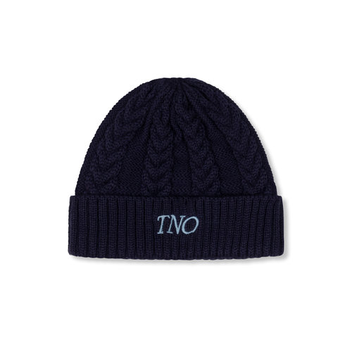 Cable Knit Beanie Navy TNO115