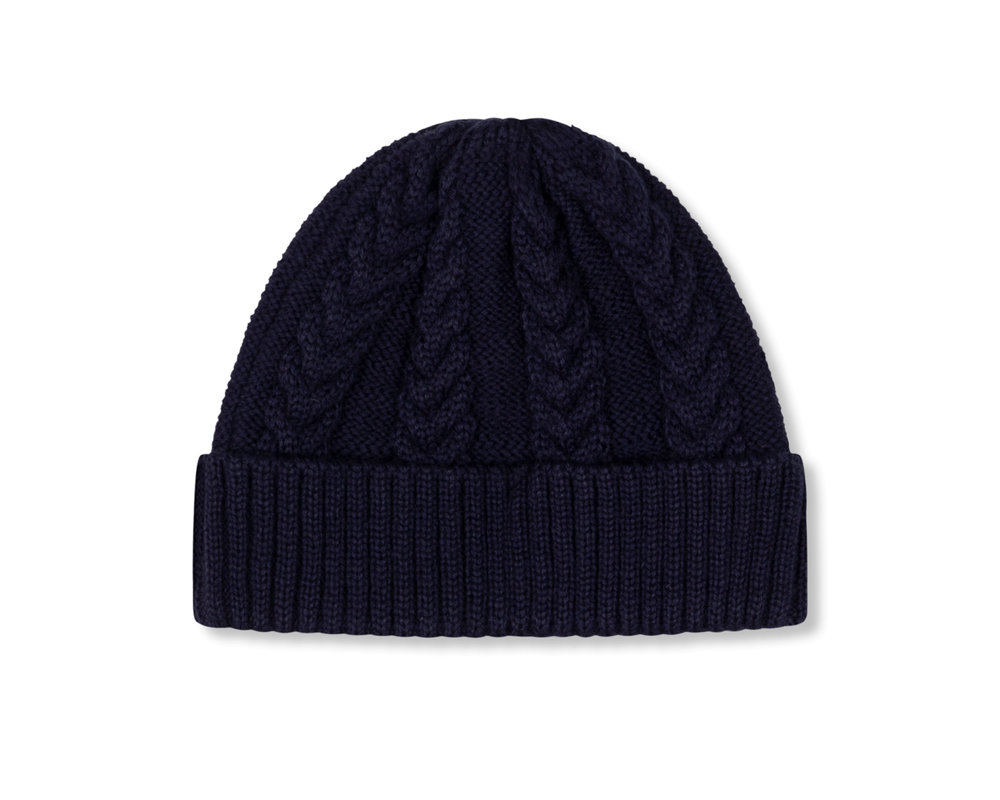 The New Originals Cable Knit Beanie Navy TNO115