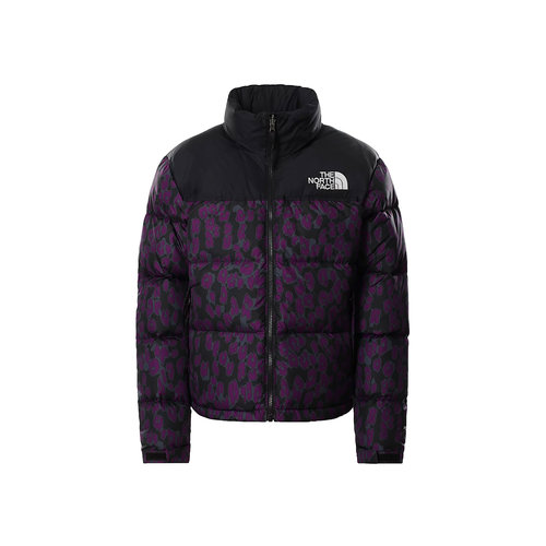 Wmns Printed Nuptse Jacket Gravity Purple Leopard NF0A5IXK29J