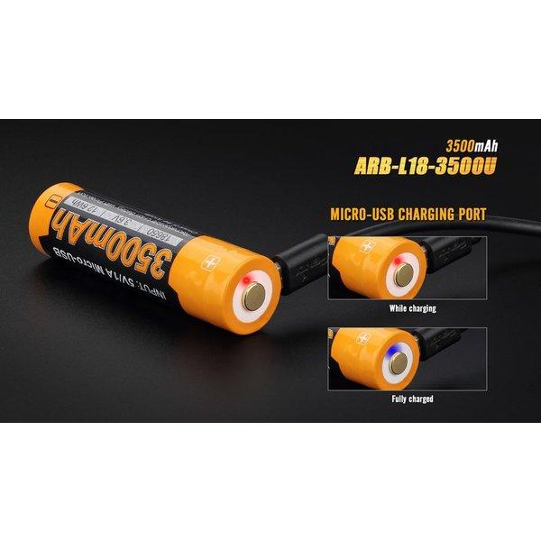 Fenix ARB-L18 USB (18650) oplaadbare 3.7V 3500mAh accu