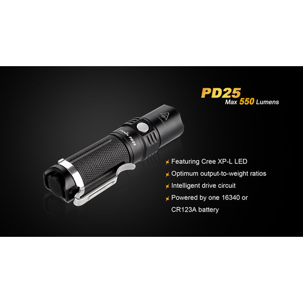 Fenix PD25 Zaklamp/Taclight (550 lumen) incl. Accu