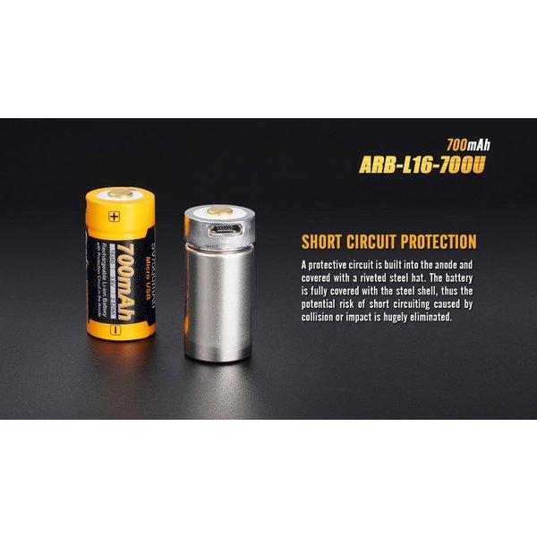 Fenix ARB-L16 USB (16340) oplaadbare 3.7V 700mAh accu