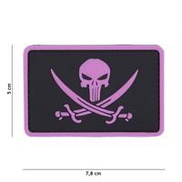 Punisher Pirate PVC Patch Black Pink