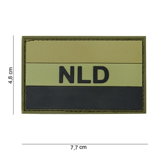 Nederlandse NLD / NED Vlag PVC Patch Olive