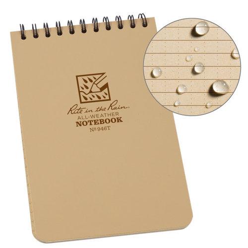 "Rite in the Rain Top-Spiraal Notebook 4x6"" Tan"