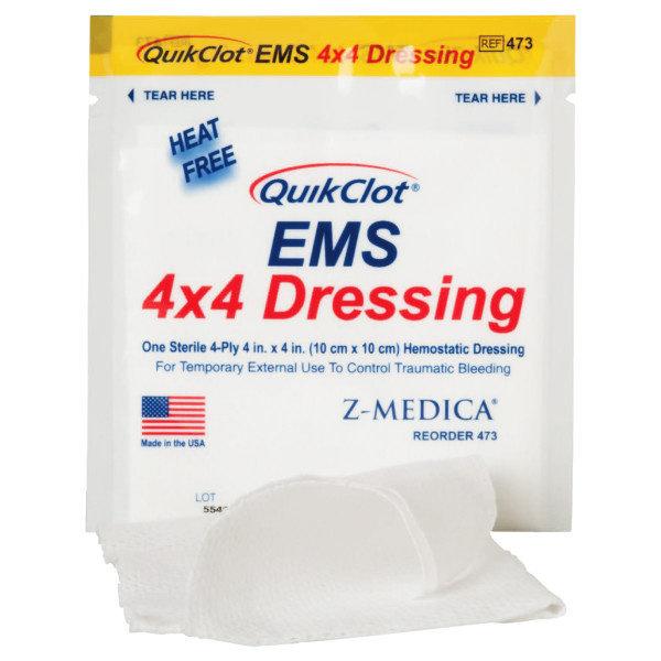 QuikClot EMS Hemostatic Dressing 10 x 10 cm