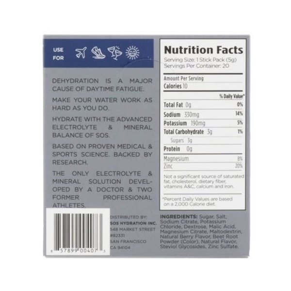SOS Hydration Sportdrank Box 20 Porties Mango
