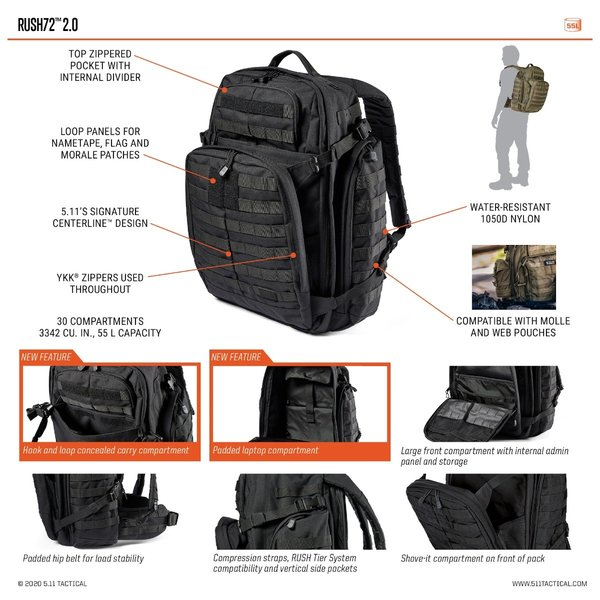 5.11 Tactical RUSH72 2.0 Backpack (55L) Double Tap