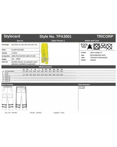 Tricorp High Vis RWS Regenbroek TPA3001