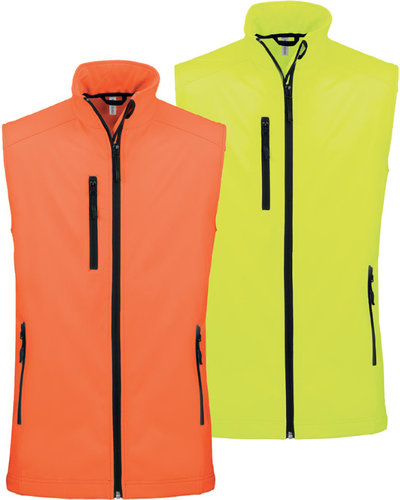 Heren Softshell bodywarmer in fluor geel of oranje