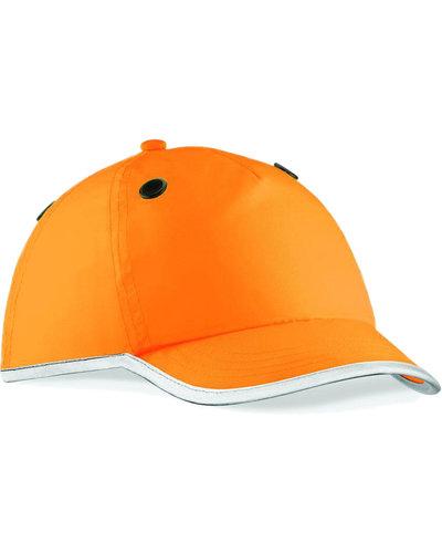 Veiligheidscap in het oranje en EN812 gecertificeerd.