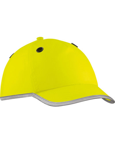 Veiligheidscap in het geel en EN812 gecertificeerd.