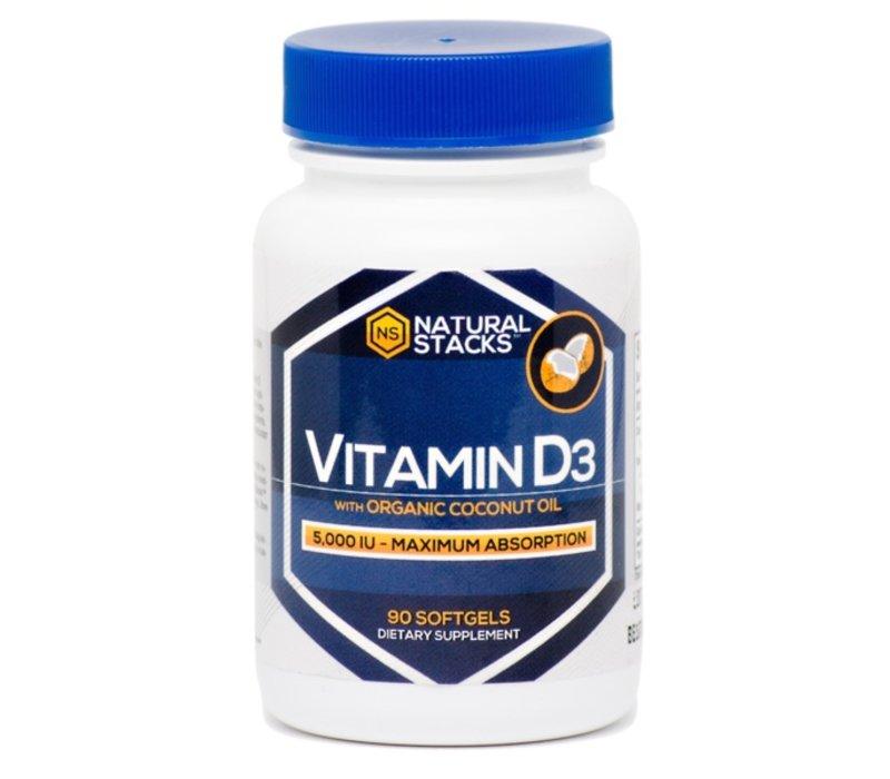 Vitamine D3 5,000 IU avec de l'Huile Organique de Noix de Coco - 90 capsules