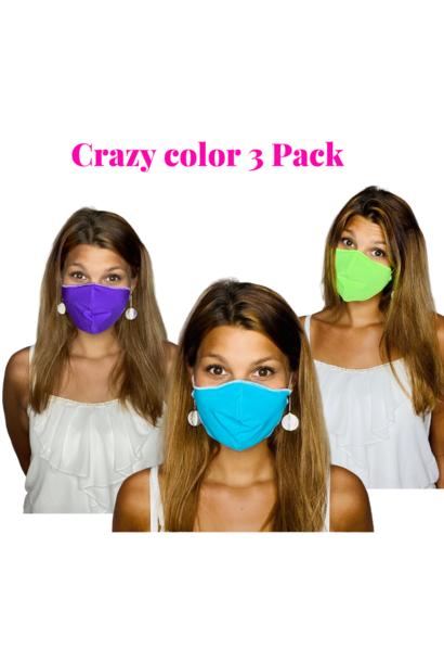 Trendy Safety Mask  Crazy color 3 Pack