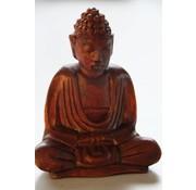 Boeddha mediterend hout 10 cm
