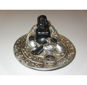 Wieroookhouder Happy Boeddha (zwart-zilver)