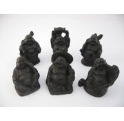 Boeddha zwart set 6 stuks 5 cm