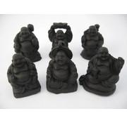 Boeddha zwart set 6 stuks 3 cm