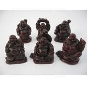 Boeddha rood set 6 stuks 3 cm