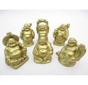 Boeddha mat-GOUD set 6 stuks 5 cm