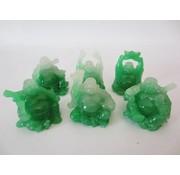 Boeddha Chinees Jade set 6 stuks 5 cm ZITTEND