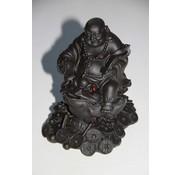 Boeddha zittend op kikker ZWART
