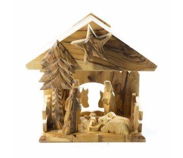 Kerststal olijfhout muziekdoos 20X16cm