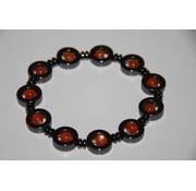 Oranje/Hematiet armband