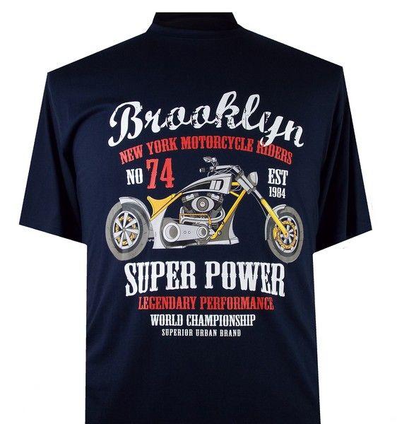 """2260 Grote Maten Navy Blue T-shirt """"Brooklyn"""""""
