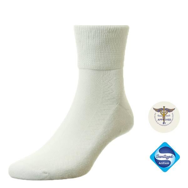 135610 Diabetes Katoenen enkel sokken - Wit