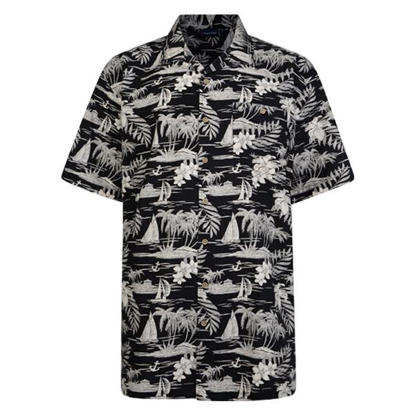 "Kingsize Brand SH259 Zwart - Grote maten heren overhemd ""Hawaii"""