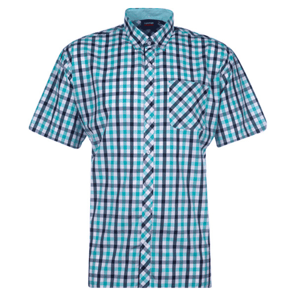 Kingsize Brand SH295 Navy/Mint Green - Grote maten Heren Overhemd