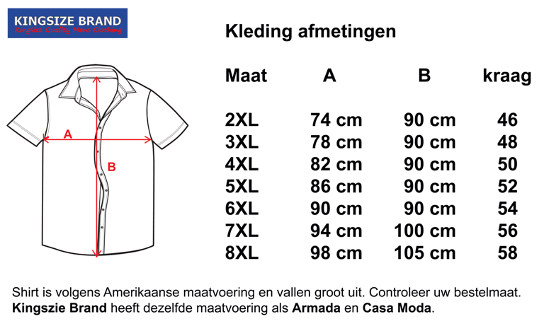 Kingsize Brand SS256 Mixed Collors  - Grote maten heren overhemd