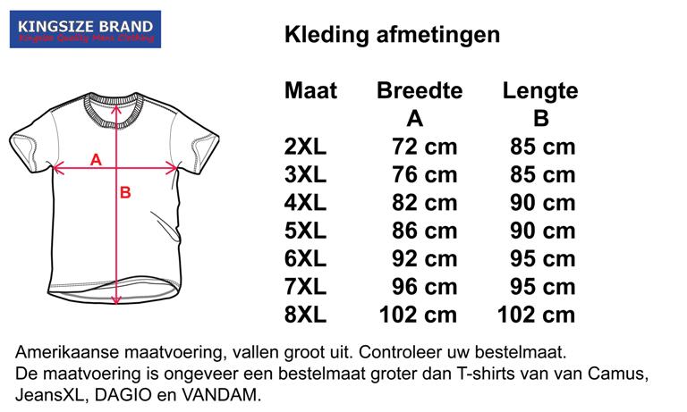 "Kingsize Brand TS302 Grijs - Grote maten T-shirt ""PANAMA"""