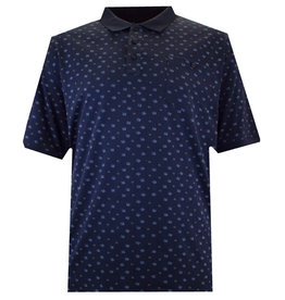 Kingsize Brand PS164 Navy - Grote maten Geometric Print Polo