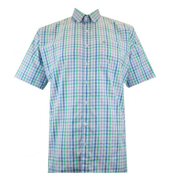 Kingsize Brand SH314 Grote maten Blauw / Lime Overhemd