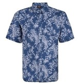 Kingsize Brand SH325 Grote maten Blauw Overhemd met Floral Print