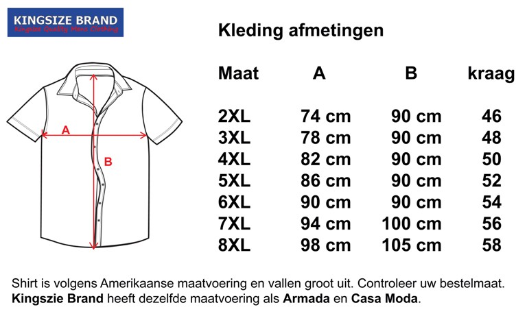 Kingsize Brand SS500 Grote maten Lichtblauw Overhemd (korte mouw)
