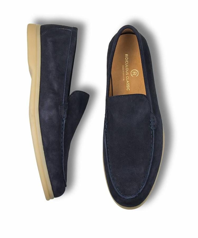 RIDICULOUS CLASSIC RIDICULOUS CLASSIC NAVY SUEDE MOCCASINS SUMMER WALK