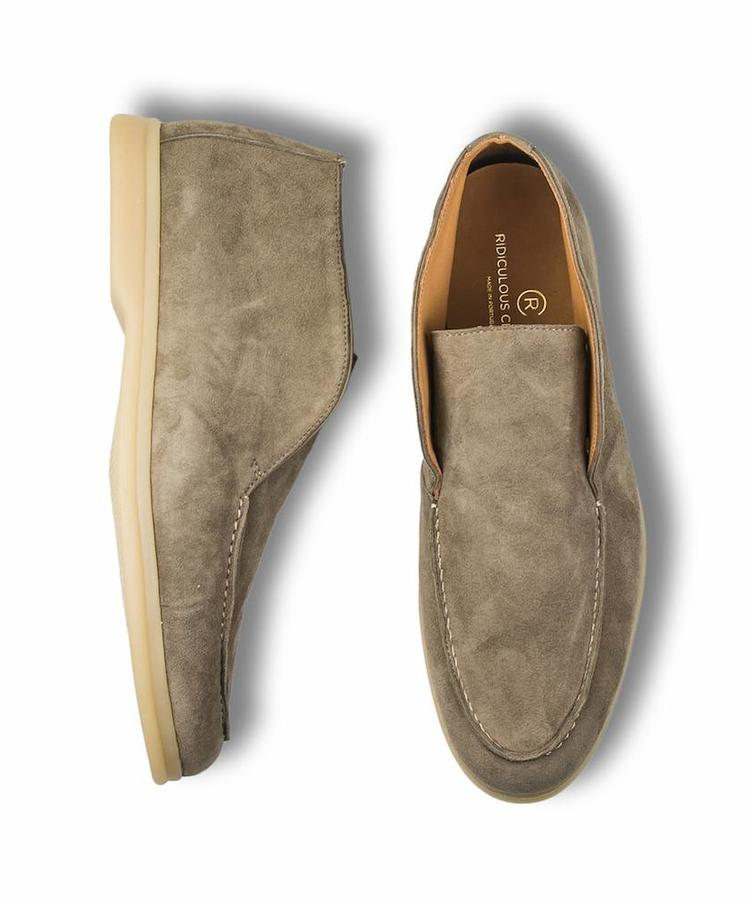 RIDICULOUS CLASSIC RIDICULOUS CLASSIC TAUPE SUEDE OPEN WALK LOAFERS
