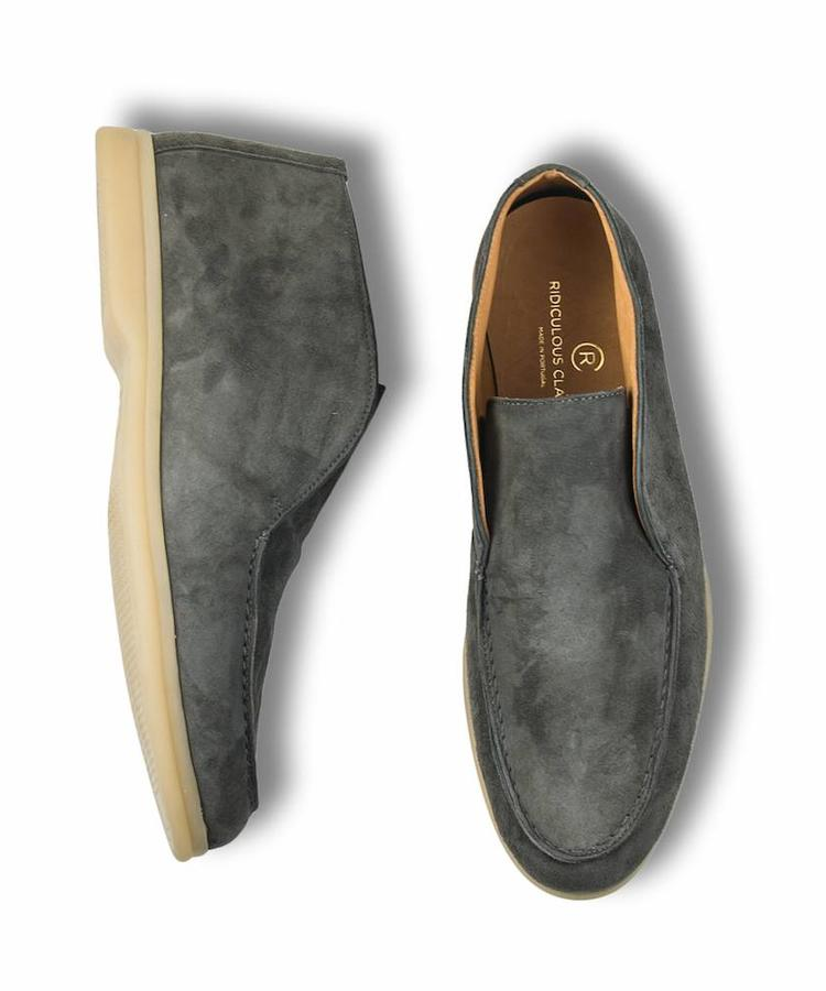 RIDICULOUS CLASSIC RIDICULOUS CLASSIC GREY SUEDE OPEN WALK LOAFERS