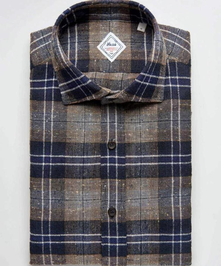 XACUS XACUS CHECKED COTTON BLENDED HERITAGE SHIRT