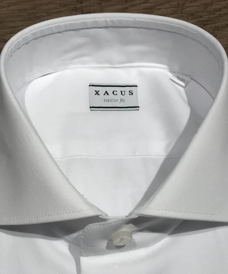 XACUS XACUS TAILORFIT WHITE SATIN STRETCH SHIRT