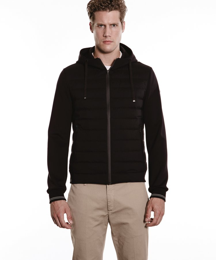 DUNO DUNO BLACK HOODED DOWN JACKET